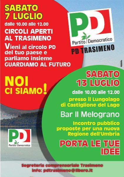 PD Trasimeno incontri luglio 2019 - Circoli aperti e proposte peruan nuova Regione Umbria