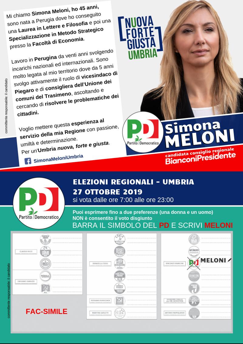 Simona Meloni per l'Umbria - elezioni regionali 2019 - fac simile scheda elettorale