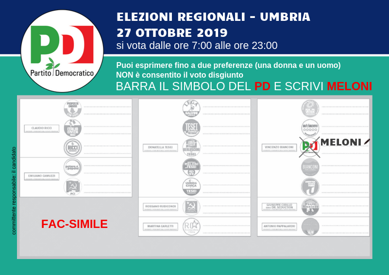 Fac Simile scheda elettorale elezioni regionali 2019 - Simona Meloni per l'Umbria