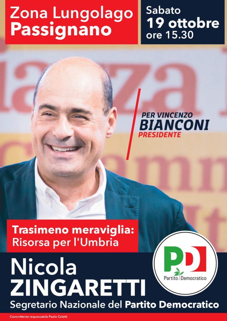 Zingaretti a Passignano il 19 ottobre